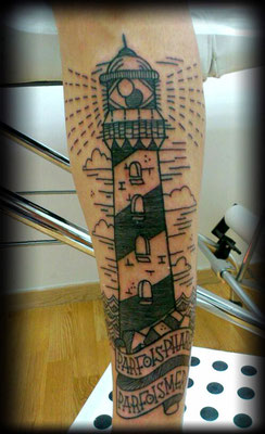 TATUAJE FARO OLD SCHOOL, lighthouse tattoo