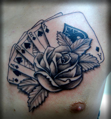 TATUAJE NOMBRE CARTAS Y ROSAS, pocket cards and roses tattoo