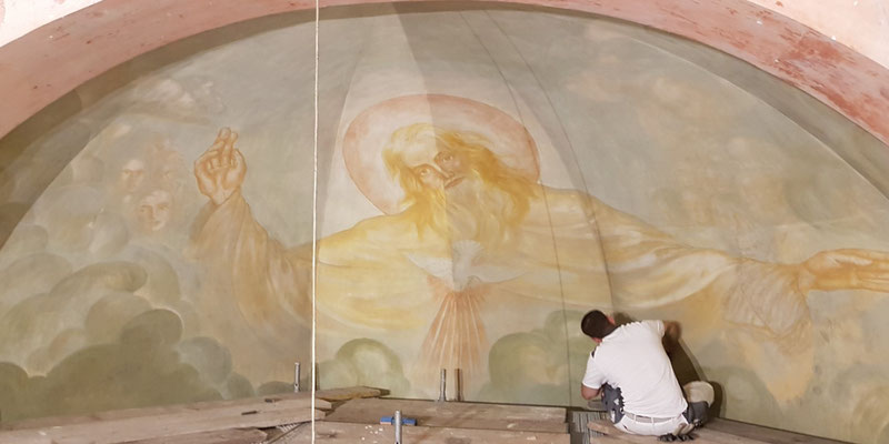 Reinigung der Chormalerei St. Urbanus