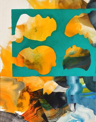 8 colors and 2 cut out #1, técnica mixta sobre tela, 97 x 72 cm.