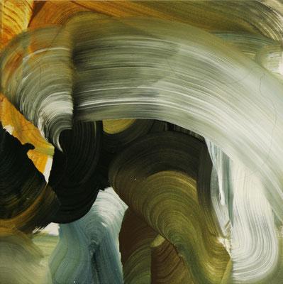 8 colors and lines #1, técnica mixta sobre tela, 40 x 40 cm.