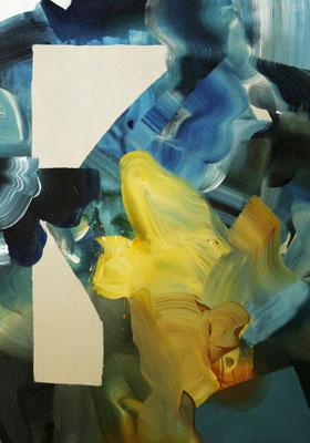 8 colors and 2 cut out #8, técnica mixta sobre tela, 97 x 72 cm.