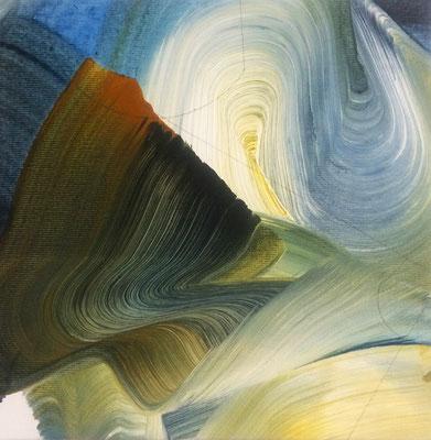 8 colors and lines #3, técnica mixta sobre tela, 24 x 24 cm.