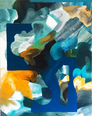 8 colors and 2 cut out #3, técnica mixta sobre tela, 97 x 72 cm.