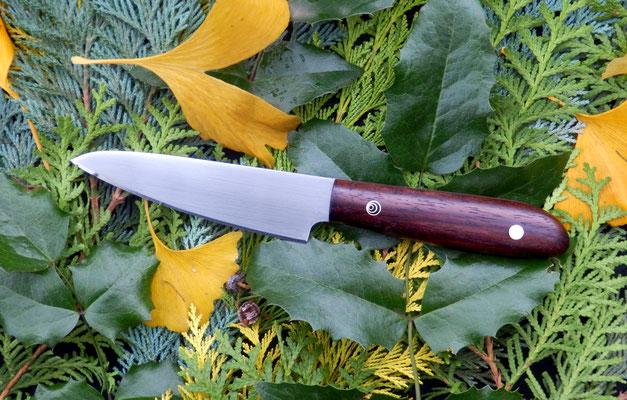 Kleines Küchenmesser aus Kugellagerstahl mit einem Griff aus Java-Palisander.