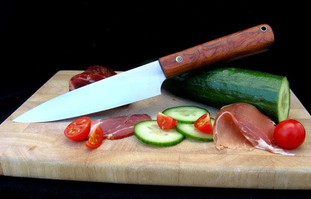 Großes, schlankes Küchenmesser, ideal für Fleisch oder Gemüse, Stahl: Kugellagerstahl, Griffmaterial: Bubinga pommelé