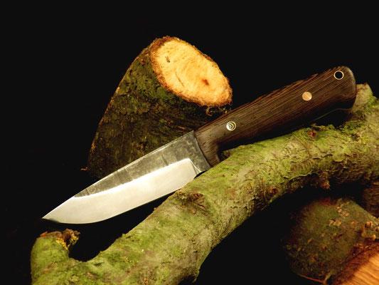 Outdoor-Messer mit Fingerkuhle, Stahl: Kohlenstoffstahl, Griffmaterial: Wenge