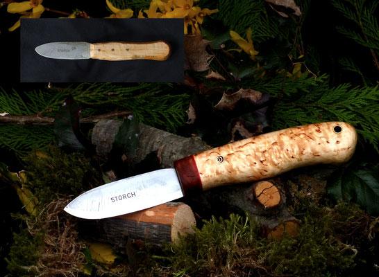 Restaurierung eines alten Messers. Griffmaterial: Nussholz, rotes Vulkanfiber und karelische Maserbirke