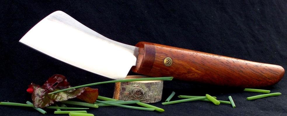 Kleines Küchenmesser zum hacken von Kräutern, Stahl: Kugellagerstahl, Holz: Kirsche
