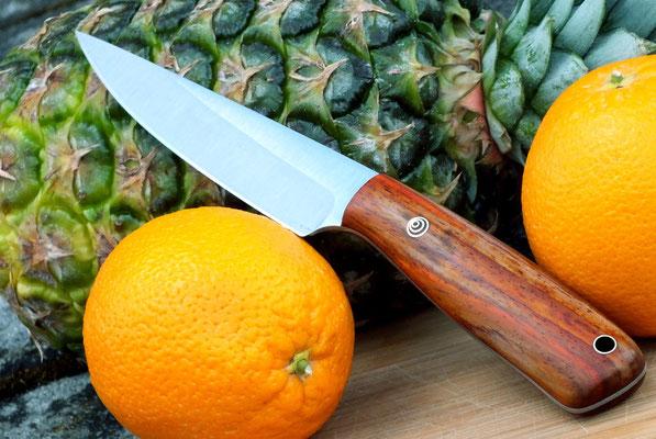 Kleines Küchenmesser, Stahl: Kugellagerstahl, Griffmaterial: Cocobolo