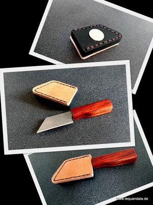 Tequandala Mini mit Griff aus mexikanischem Cocobolo, die Hülle besteht aus afrikanischem Ebenholz mit aufgenähtem Leder und starkem Neodym Magneten