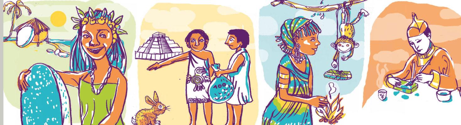 Verschiedene Kulturen, verschiedene Zahlungsmittel, Illustration Leitartikel forum