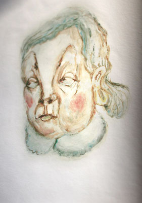 Alte Dame, Öl auf Papier, 80 x 120