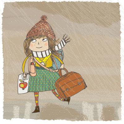 Illustration: Unterwegs in den Kindergarten