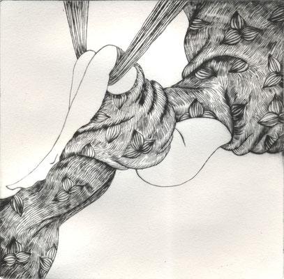 Suspension IV, pointe-sèche, 14x14cm, édition de 6, 2015.
