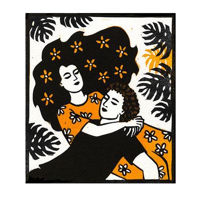 L'Amour - 4, linogravure, dimensions 15 x 17 cm, 40 €