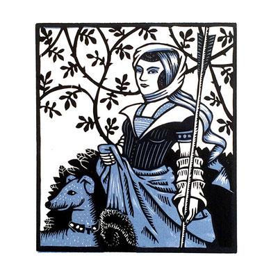 La Chasse, linogravure en deux couleurs, 15 x 17 cm.
