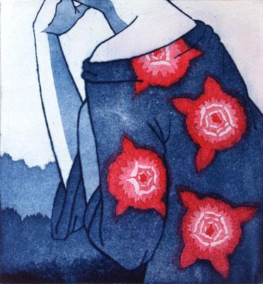 """""""Le Doute"""" (rouge), 29 x 27 cm, eau-forte multi-plaques, édition de 3, 2014, Sold out"""
