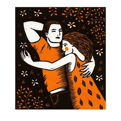 L'Amour - 1, linogravure, dimensions 15 x 17 cm.