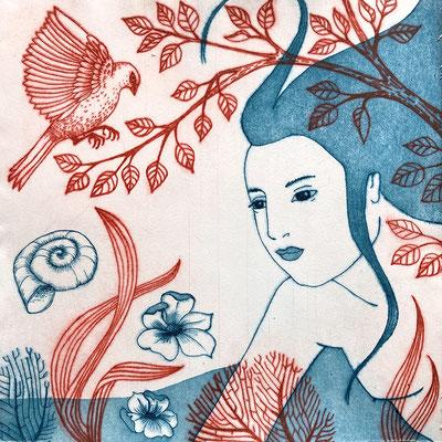 """""""Nager-L'Oiseau-bleu"""", eau-forte multi-plaques, 35x35 cm (imprimé sans marge), édition de 9, 2020, 190 €"""