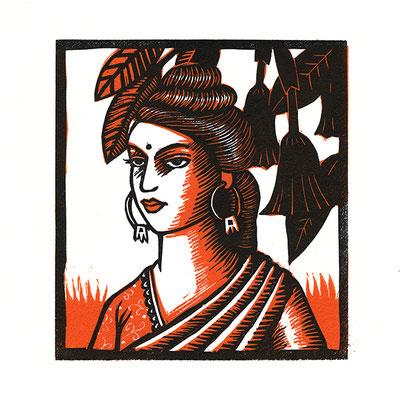 Femme en sari orange, linogravure en deux couleurs, dimensions 12 x 13 cm.