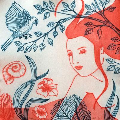 """""""Nager-L'Oiseau-rouge"""", eau-forte multi-plaques, 35x35 cm (imprimé sans marge), édition de 3, 2020, 200€"""