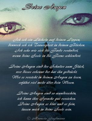 Die Augen sind das Fenster zur Seele, wer mehr in den Augen sieht als nur die Farbe, der ist der Seele einen großen Schritt näher.