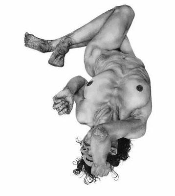 Sophie Rambert 《坠落 #17》,2014年,纸上的黑色石头,130 x 93 cm