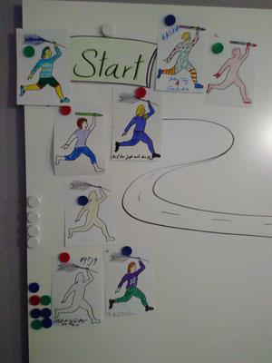 Und los geht's: Die Marathonfiguren wollen alle ins Ziel! (Bild: Eva Lerche)