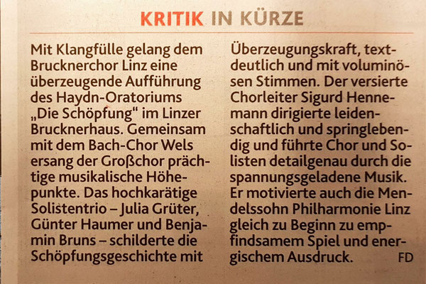 21.10.2017 | Die Schöpfung | Kronenzeitung am 23.10.2017