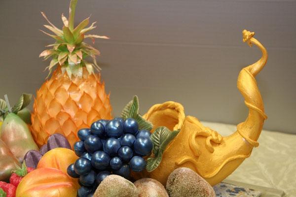 Seidenzucker Füllhorn mit Obst, Trauben