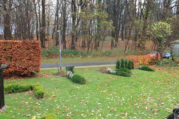 Hanggarten Torpfosten pflanzen