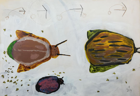 Flying seeds 3 / acrylic, ink on paper, 50x70cm, 2004