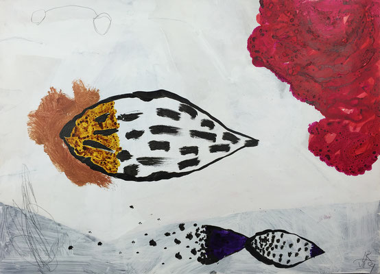 Flying seeds 2 / acrylic, ink on paper, 50x70cm, 2004