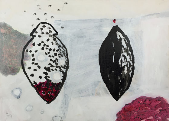 Flying seeds 1 / acrylic, ink on paper, 50x70cm, 2004