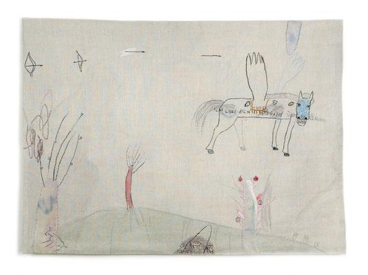 Ich liebe dich 2 / embroidery, linen, 50x60cm, 1999