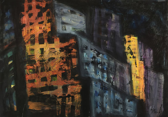 NYC 1 / acrylic, ink on paper 50x70cm, 1997