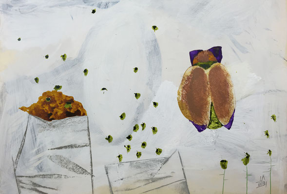 Flying seeds 4 / acrylic, ink on paper, 50x70cm, 2004