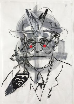 Sigmund Freud, red dots / collage, ink / 50x70cm