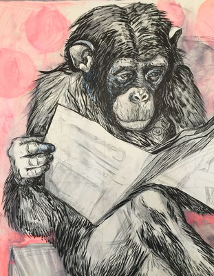 Bettmann´s Chimp / pencil, ink, acrylic on cardboard / detail
