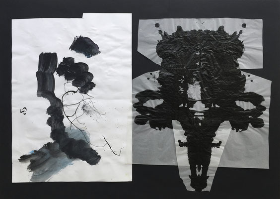 Ink mask 1 / collage, ink / 70x50cm (with Niko Naydenov)