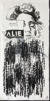 Valie Export / collage, ink / 48x98cm