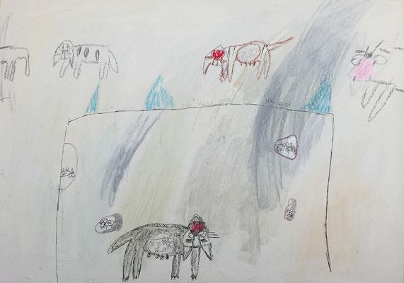 Ich liebe dich 1 / drawing, paper, 20x30cm, 1999