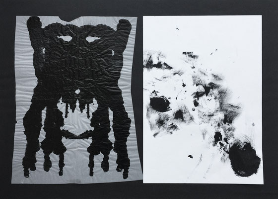 Ink mask 2 / collage, ink / 70x50cm (with Niko Naydenov)