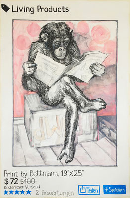 Insta-feed Bettmann´s Chimp / pencil, ink, acrylic on cardboard / 125x190cm