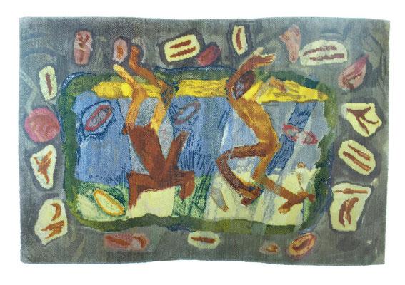 Dancing figures / tapestry, wool, 160x220cm, 1997-98
