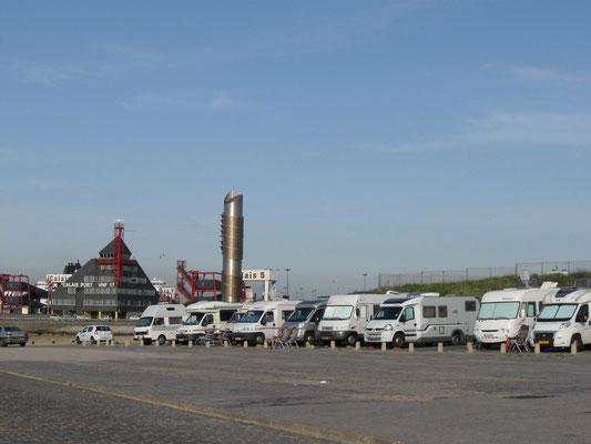 Wohnmobilstellplatz im Fährhafen von Calais