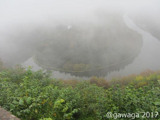 große Saarschleife im Nebel