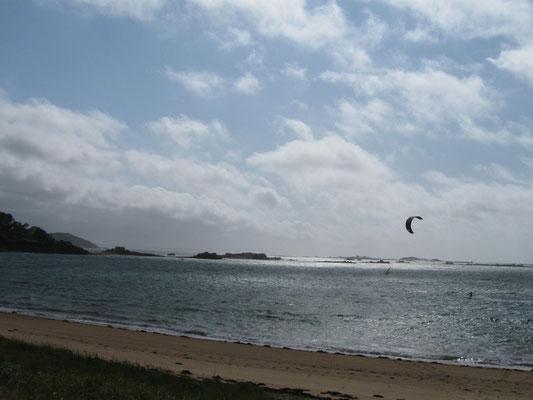 die Kitesurfer freuen sich über den starken Wind