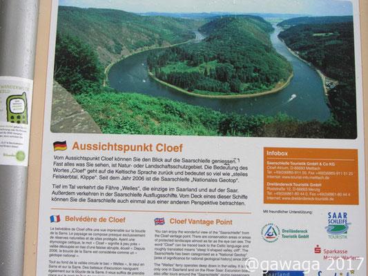 Infotafel Saarschleife Cloef